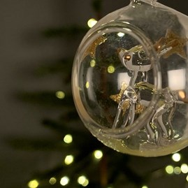 Glass Bauble With Deer