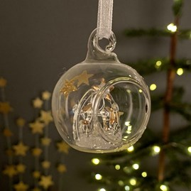 Glass Bauble With Nativity Scene