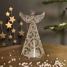 Light Up Glass Angel Hanging Decoration