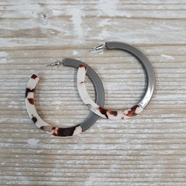 Two Tone Large Resin Hoop Earrings