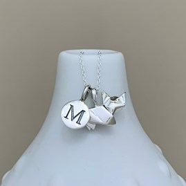 Personalised Solid Silver Origami Cat Necklace