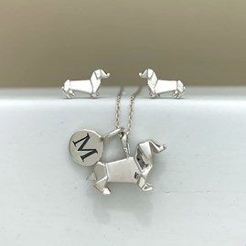 Personalised Solid Silver Origami Dachshund Necklace