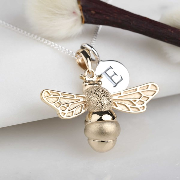tiny bee s is itm charm new necklace pendant silver honey bumblebee sterling queen image loading
