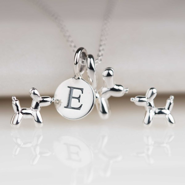 Top Personalised Silver Balloon Dog Pendant QR29