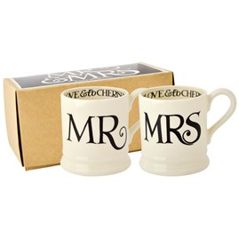 Emma Bridgewater Black Toast Mr & Mrs 1/2 Pint Mugs