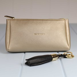 'Kiss And Make Up' Metallic Gold Make Up Bag