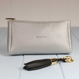 'Ready Set Glow' Metallic Silver Make Up Bag