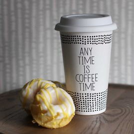 Porcelain 'Any Time Is Coffee Time' Thermo Mug