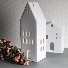 Porcelain Tall Tea Light Holder House
