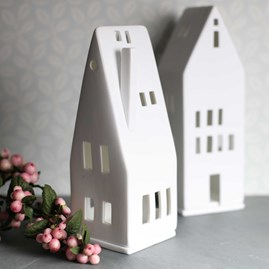 Porcelain Tea Light Holder House With Chimney