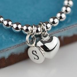 Personalised Silver Heart Friendship Bracelet