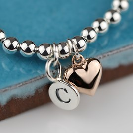 Personalised Rose Gold Heart Friendship Bracelet