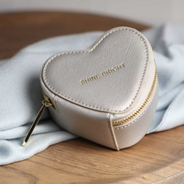 Heart Shaped Silver Metallic Jewellery Box