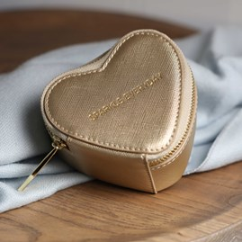 Heart Shaped Gold Metallic Jewellery Box