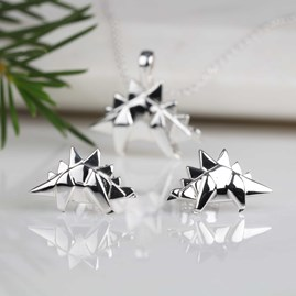 Solid Silver Origami Stegosaurus Earrings