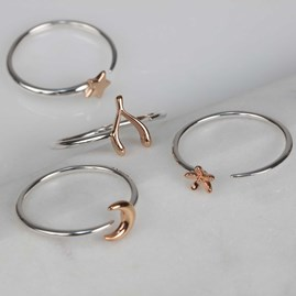 Solid Silver And 14ct Rose Gold Charm Rings