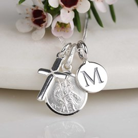 Personalised St. Christopher And Silver Cross Necklace
