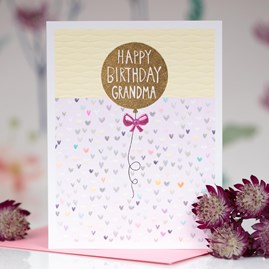 'Happy Birthday Grandma - Balloon'  Greetings Card