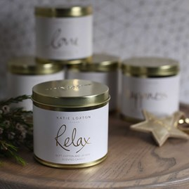 'Relax' Round Tin Candle
