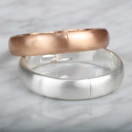 Round Edge Brushed Silver Or Rose Gold Bangle