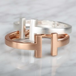 Brushed Silver Or Rose Gold T Bar Cuff Bangle