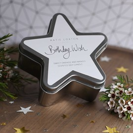 'Birthday Wishes' Silver Star Tin Candle