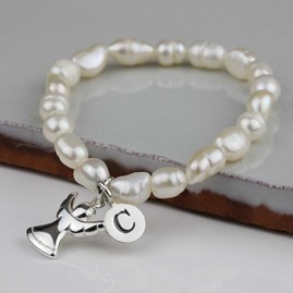 Personalised Children's Pearl And Angel Bracelet