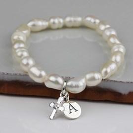 Personalised Children's Pearl Christening Bracelet
