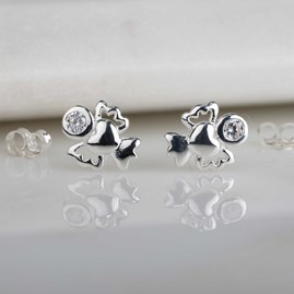 Children's Solid Silver And Crystal Angel Studs
