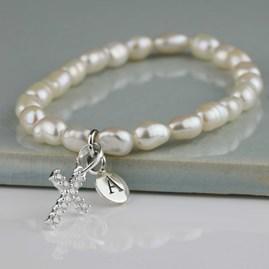 Personalised Freshwater Pearl Silver Cross Bracelet