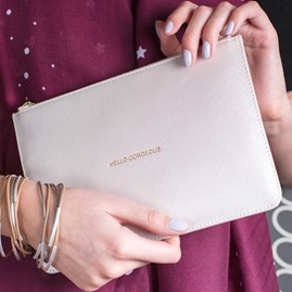 Katie Loxton Personalised 'Hello… ' Metallic White Pouch