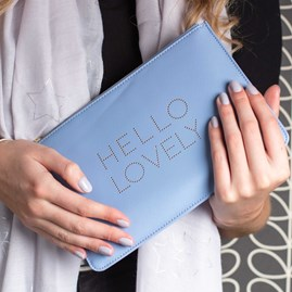 'Hello Lovely' Pale Blue Perfect Pouch