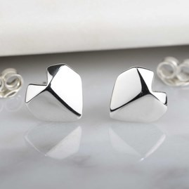 Stunning Silver Origami Heart Earrings