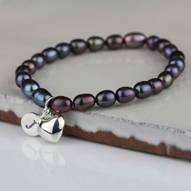 Personalised Black Pearl Heart Charm Bracelet