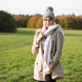 'Starlight' Designer Scarf In Pale Grey