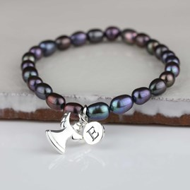Personalised Black Pearl Angel Bracelet