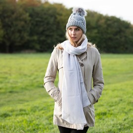 'Heart Of Gold' Pale Grey Scarf