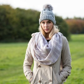 Designer Pale Grey Striped Scarf