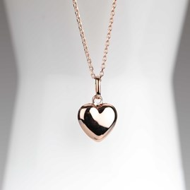 Polished Rose Gold Heart Charm Necklace