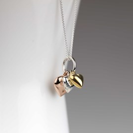 Stunning Trio Of Hearts Cluster Necklace