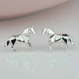 Stunning Silver Origami Horse Earrings