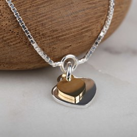 Silver And Gold Twin Heart Charms Bracelet