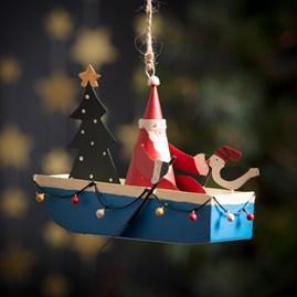 Santa In His Fairy Light Boat Hanging Decoration