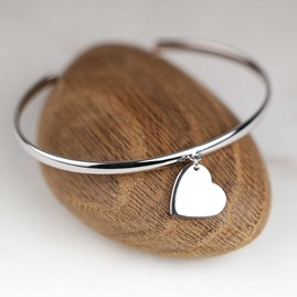 Children's Solid Silver Heart Bangle