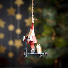 Santa On A Scooter Hanging Decoration