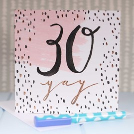 '30 Yay' Rose Gold Luxe Birthday Card