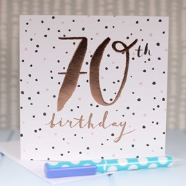 '70th Birthday' Rose Gold Luxe Birthday Card