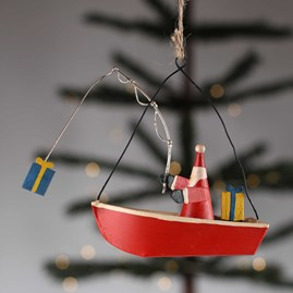 Father Christmas In A Fishing Boat