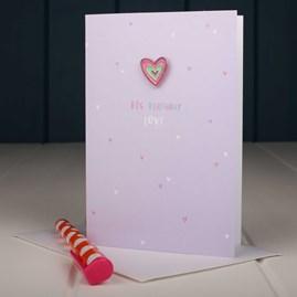 'Love Heart' Enamel Pin And Birthday Card