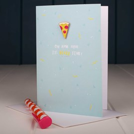 'Nom Nom It's Pizza Time' Enamel Pin And Card